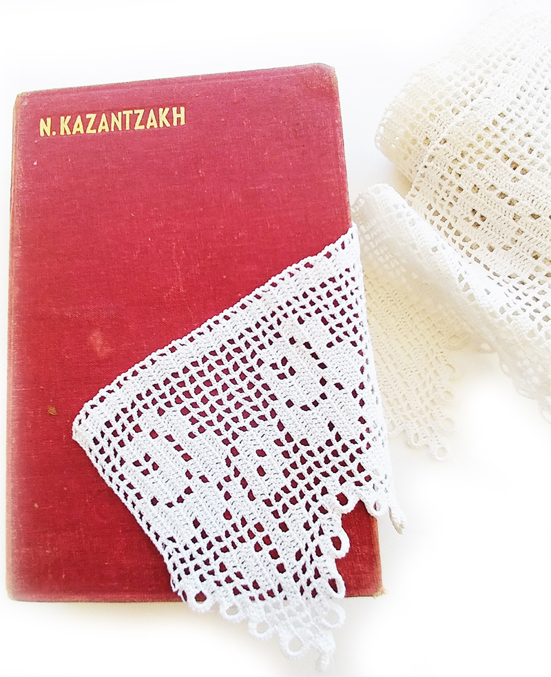 Crete, kazantzakis and handmade lace from my grandmather, Crete stories by Greek jewelry and accessories designer Anna Maria