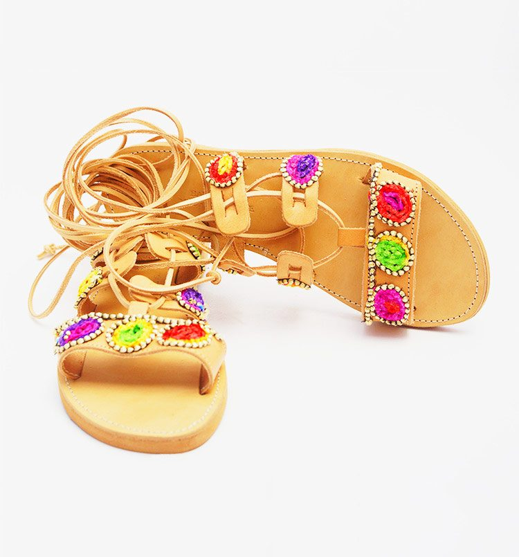 Colorful sandals, Greek sandals, gladiator sandals, tie-up- sandals, elegant flat sandals, ancient sandal, luxury women's-sandals, chic-sandals Oia sunset Santorini