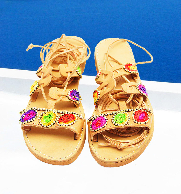 "Ancient greek sandals, Gladiator sandals tie-up, Colorful sandals ""Oia Sunset"""