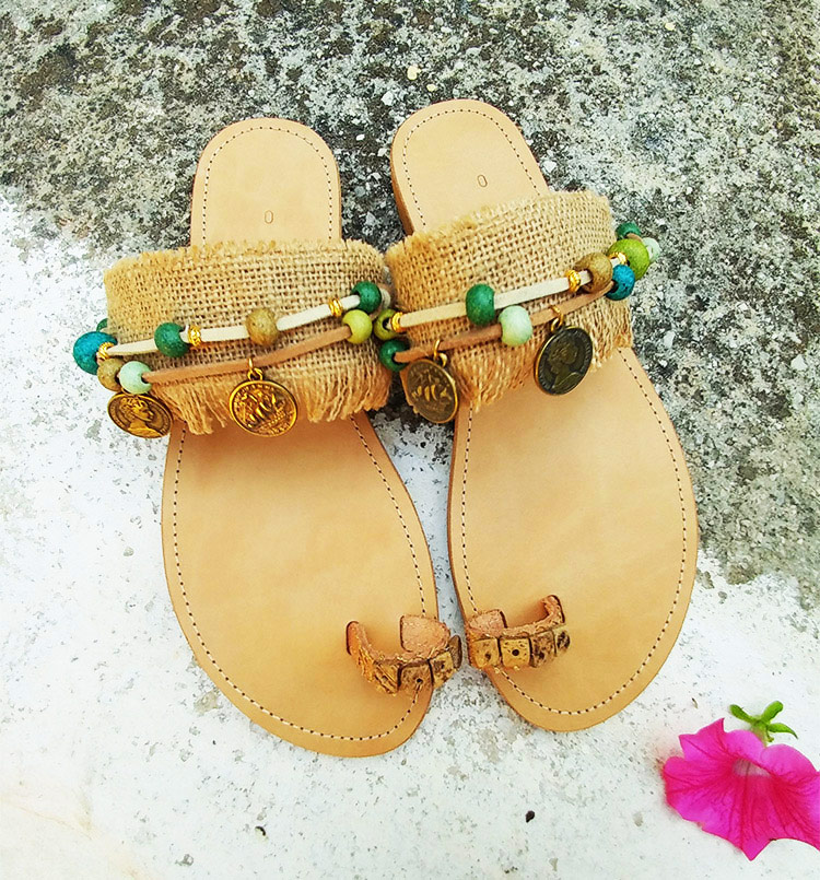 "Greek handmade sandals, Toe ring sandals, Slip on sandals, Beads sandals ""Heraklion"""