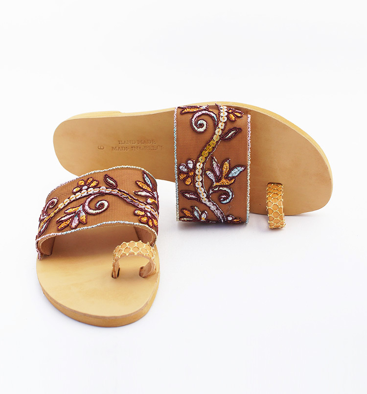 "Elegant sandals, Toe ring sandals, Leather flat sandals, Lace sandals ""Knossos"""
