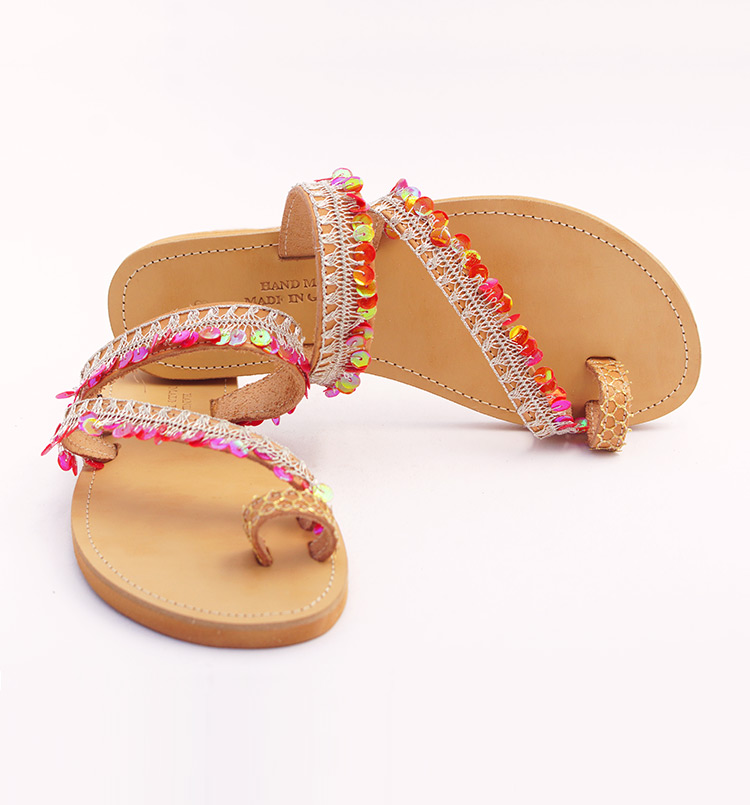 "Slide sandals, Toe Ring sandals, Sequin sandals, Leather women sandals ""Red Beach"""