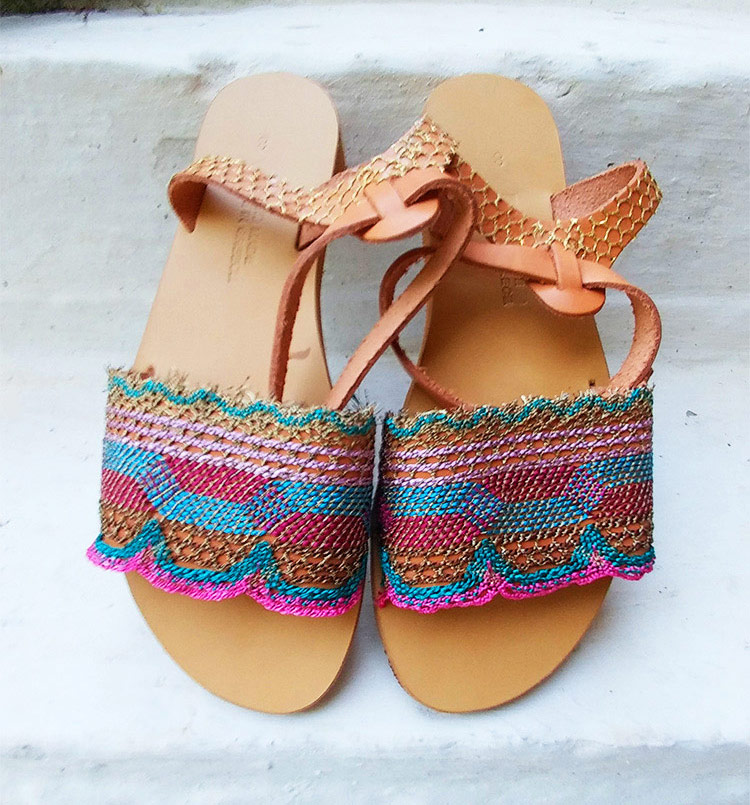 "Ankle wrap sandals, Lace sandals, Colorful sandals, Greek leather sandals ""Chania"""