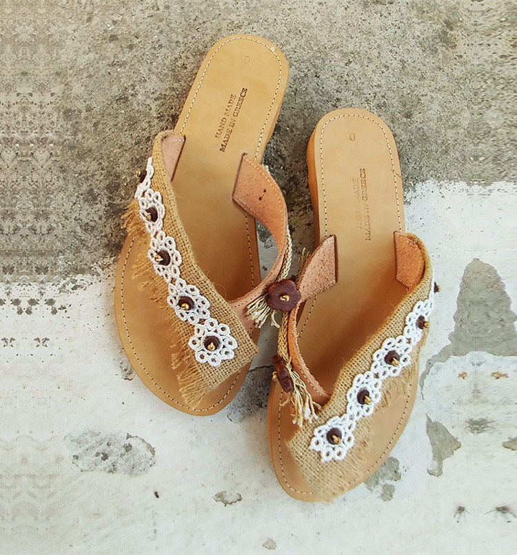Leather sandals, slip-on sandals with lace, beaded sandals, greek sandals handmade, lace sandals, white sandals lefka ori