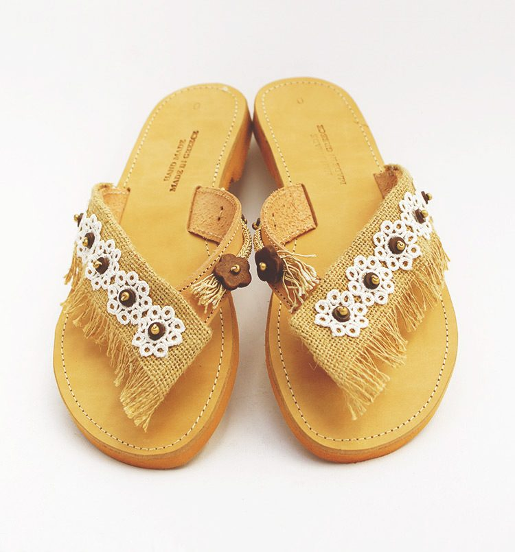 Leather women sandals, slip-on sandals with lace, beaded sandals, greek sandals handmade, lace sandals, sandals-decorated, white sandals lefka ori