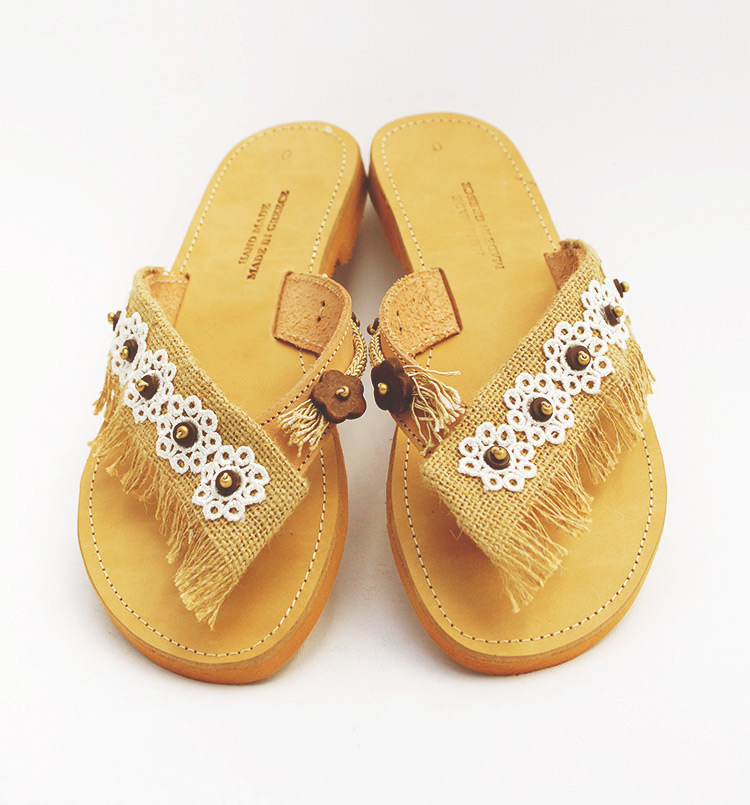 Slip On Sandals Leather Sandals With Lace Beaded Sandals