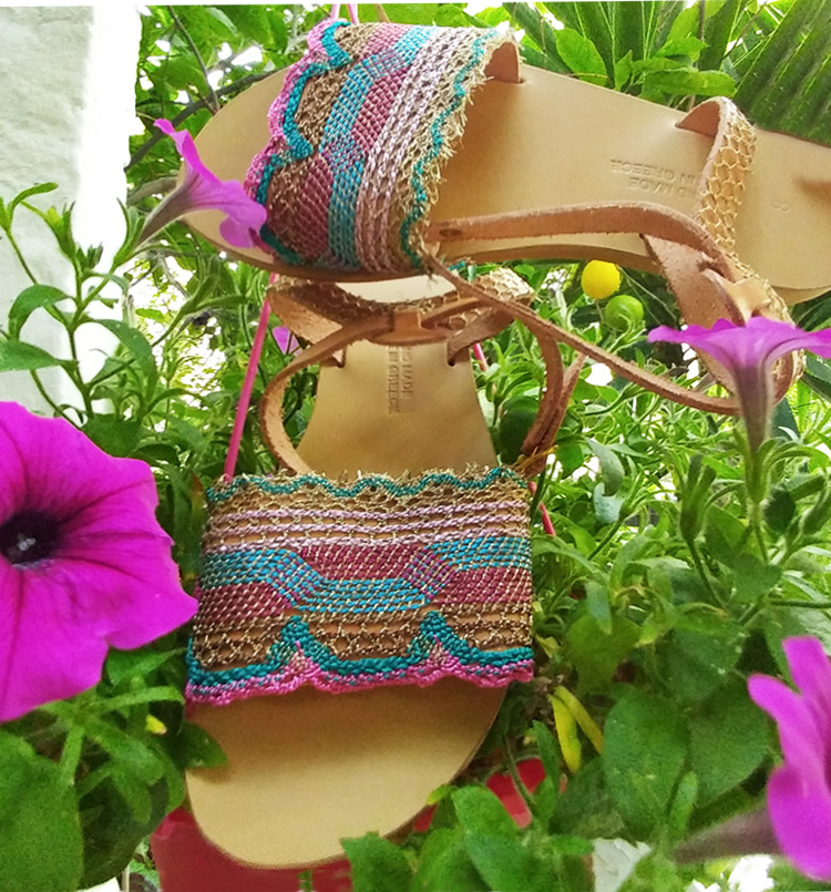 Colorful sandals, leather sandals  for women, handmade sandals with lace Chania, strappy sandals, flat sandals, greek sandals Crete