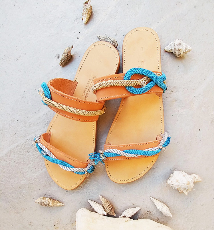 "Flat Leather Sandals, Beaded sandals, Women's slides sandals ""Kamari"""