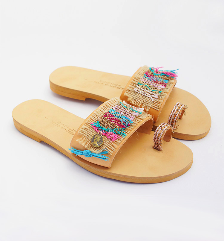 "Toe ring woman leather sandals, Boho chic colorful sandals ""Matala"""