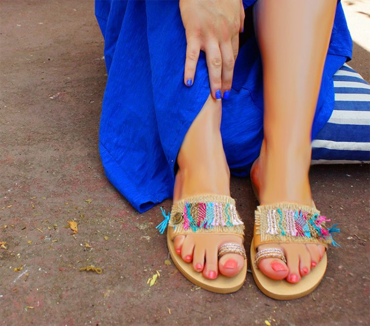 Trendy sandals, handmade sandals, womens sandals decorated, toe-ring sandals, flat summer sandals, colorful sandals Matala Crete