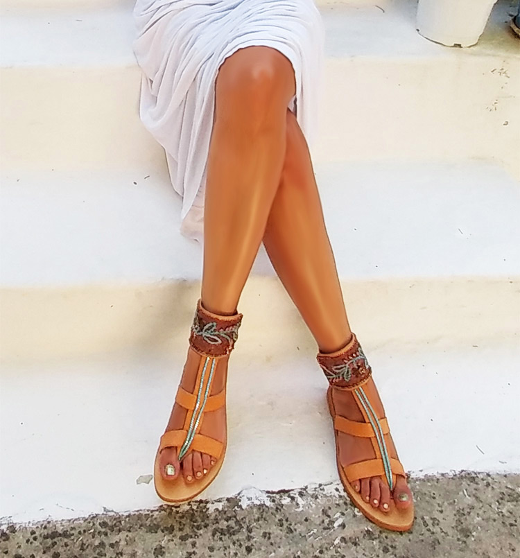 "Greek luxury sandals, Strap sandals, Handcrafted Ankle wrap sandals ""Fira"""